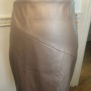 NWT Bar III Rose Gold Faux Leather Skirt sz S